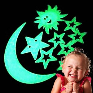 Фосфоресциращи звездички, луна и слънце украса за детска стая-комплект