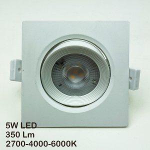 Качествена и мощна луничка 5W LED за таван, 350Lm, 2700/4000/6000K, квадрат