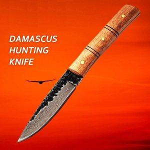 Ръчно изработен кован прав ловен нож, дамаск, махагонова дръжка дърво, кания телшки бланк