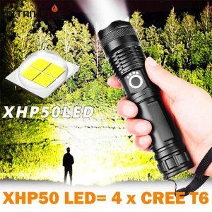 Супер мощен +70% LED фенер от ново поколение XHP50 LED с четворна мощност CREE T6