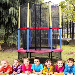 Детски батут с мрежа, до 45 кг, 139 см диаметър