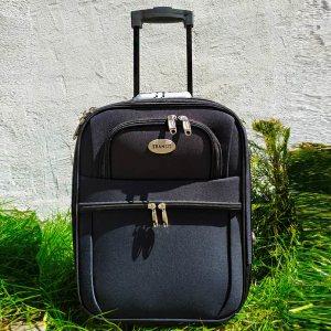 Куфар за ръчен багаж TRANSIT 701S BLACK, текстилен с 3 джоба, 45 х 33.5 х 17 см