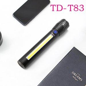 USB LED фенерче TD-T83 + 3W COB светодиод, с телескопичен зуум