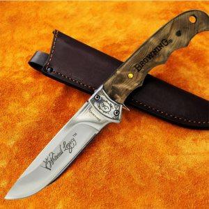 Бутиков ловен нож BROWNING  B4040 с инкрустации, орехова дръжкa и кожена кания